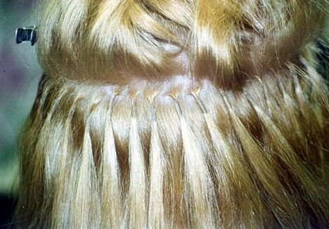 Fusion hair extension application found on  Pinterest .