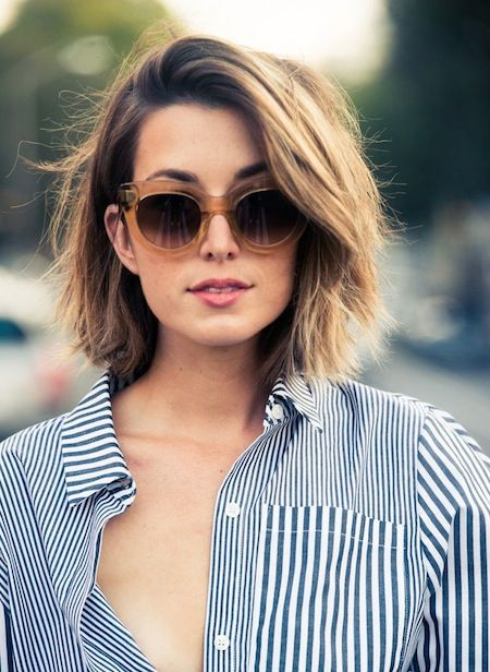 Deep side part for extra volume on top. Source:    Pinterest
