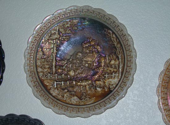 """3. Smoke Homestead Plate with a crinkly """"stretch"""" finish. Notice how the pattern has melted down with the reheating to make a stretch finish from the Don Moore collection."""