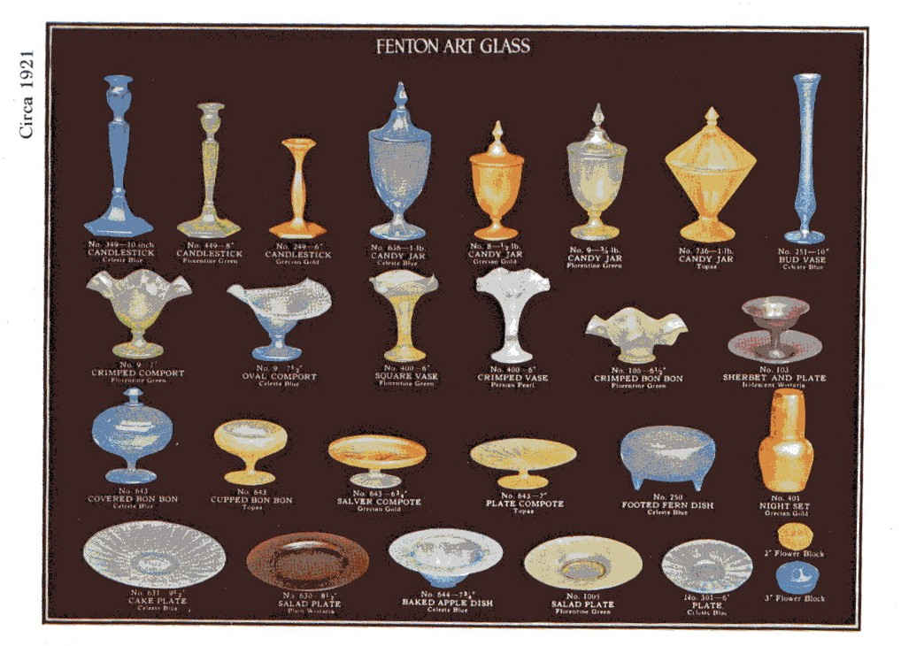 1921 Fenton catalog page. Note the salver and plate compotes.