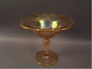 US Glass Pink #310 tall comport with floral and gold decoration $100