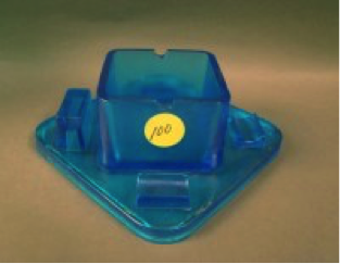 Unidentified maker Celeste Blue square ashtray, extremely unusual, $1050