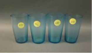 Fenton #215 Celeste Blue juice tumblers, 4 for $22.50
