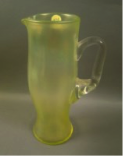 Diamond Topaz tankard pitcher with crystal handle, crack near handle $540