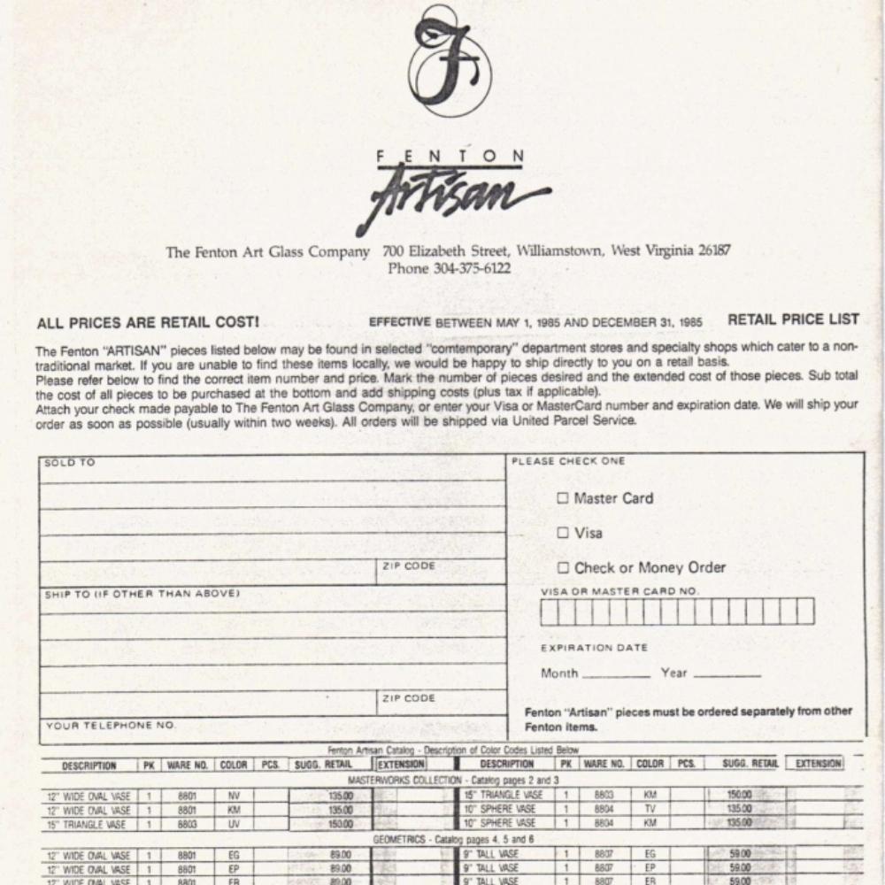 1985 Artisan Price Guide