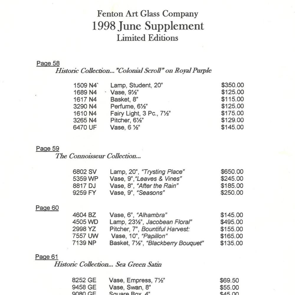 1998 Price Guide June