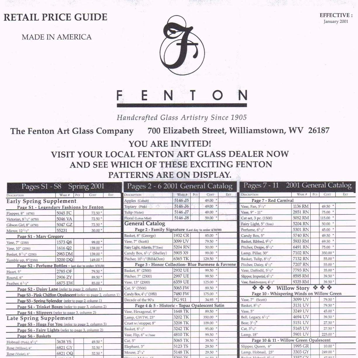 2001 Jan Price Guide