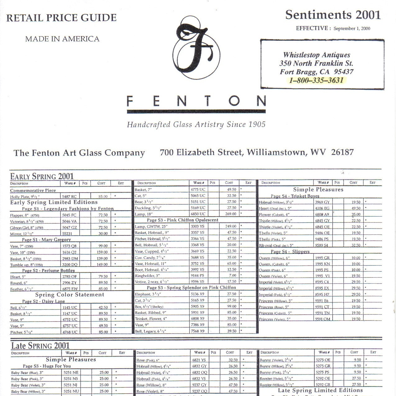 2001 Sentiments Price Guide