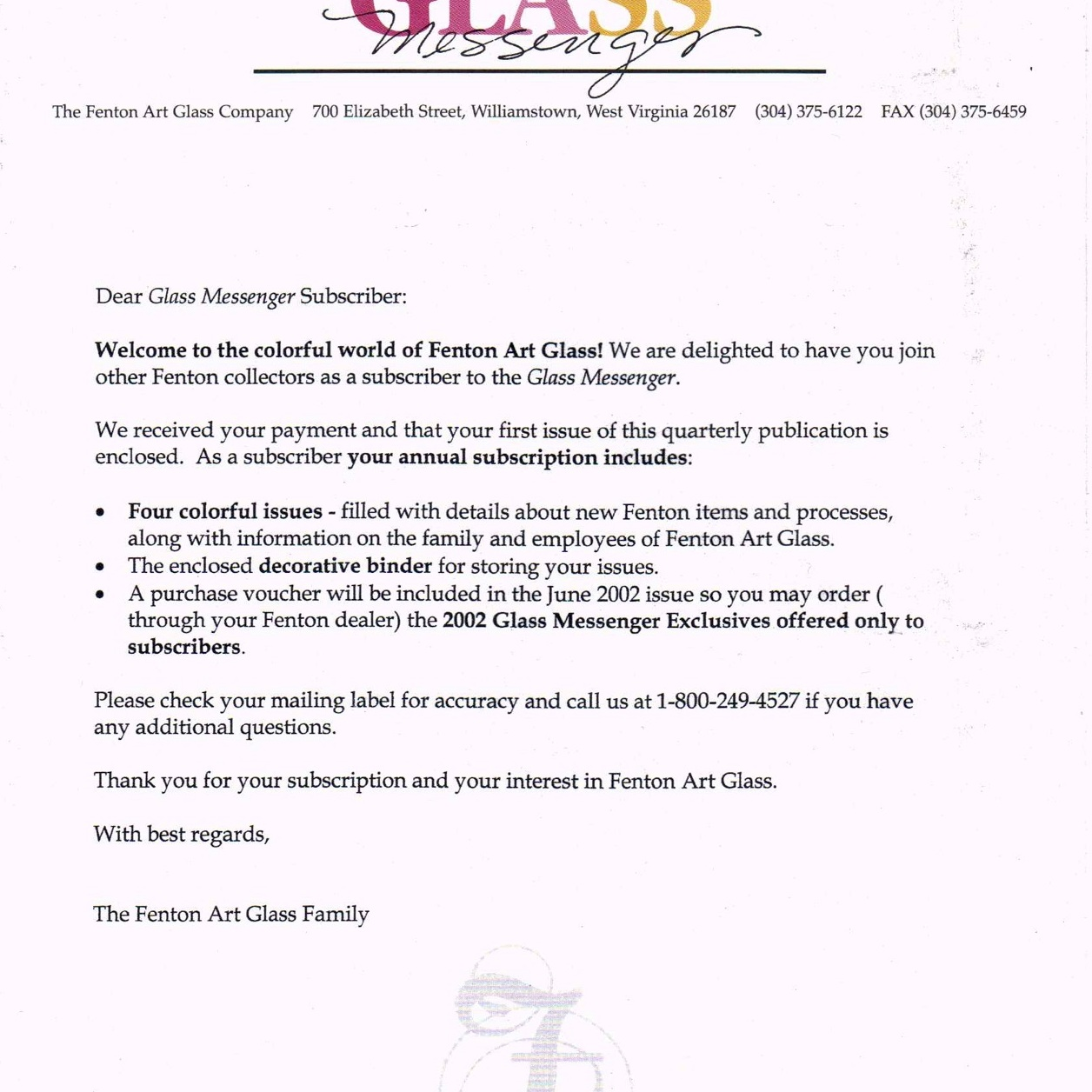 2002 Glass Messenger Letter