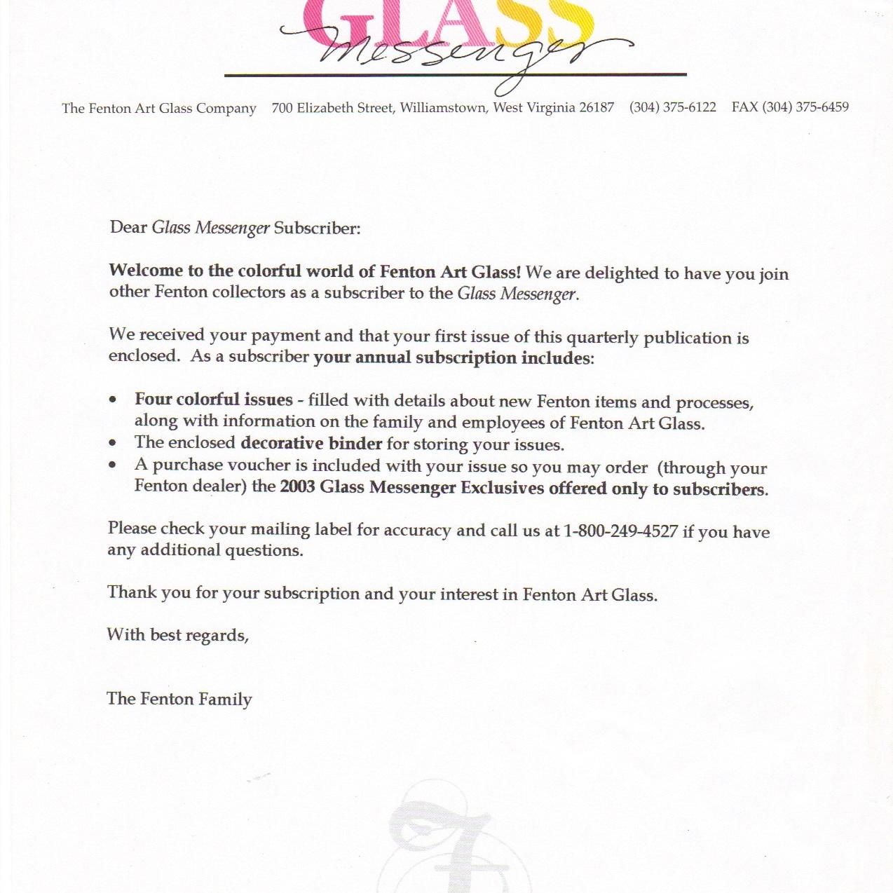 2003 Glass Messenger