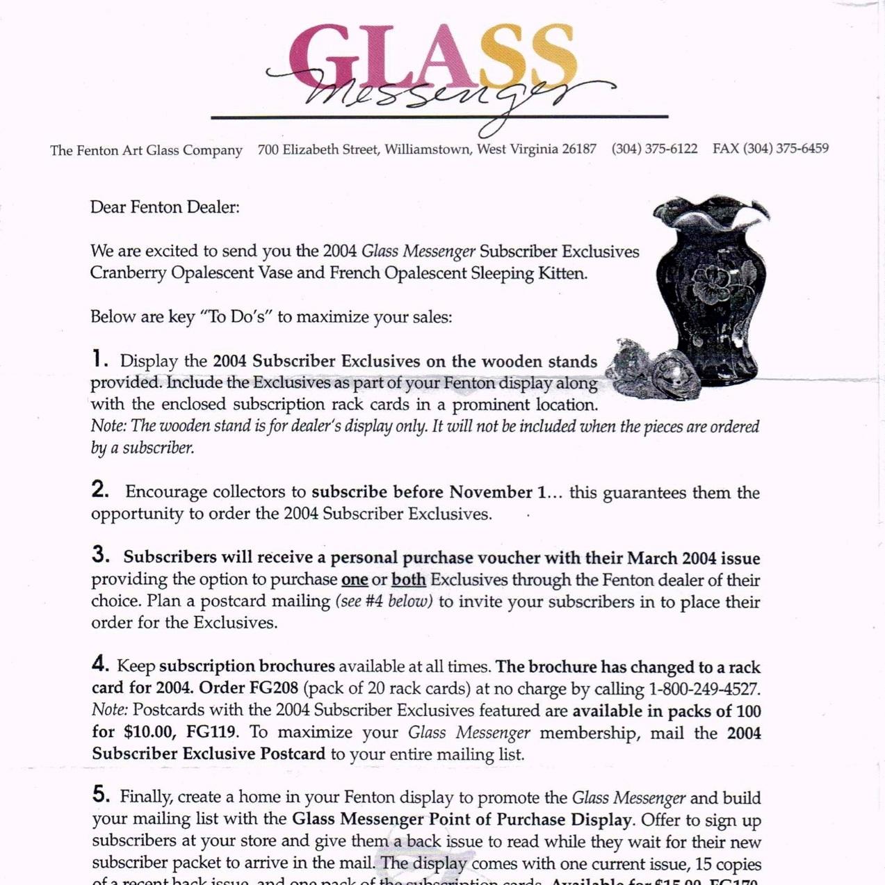 2004 Glass Messenger Letter
