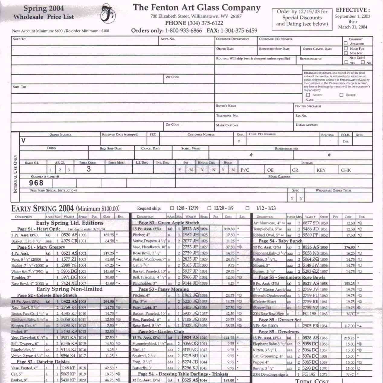 2004 Spring Price Guide v1