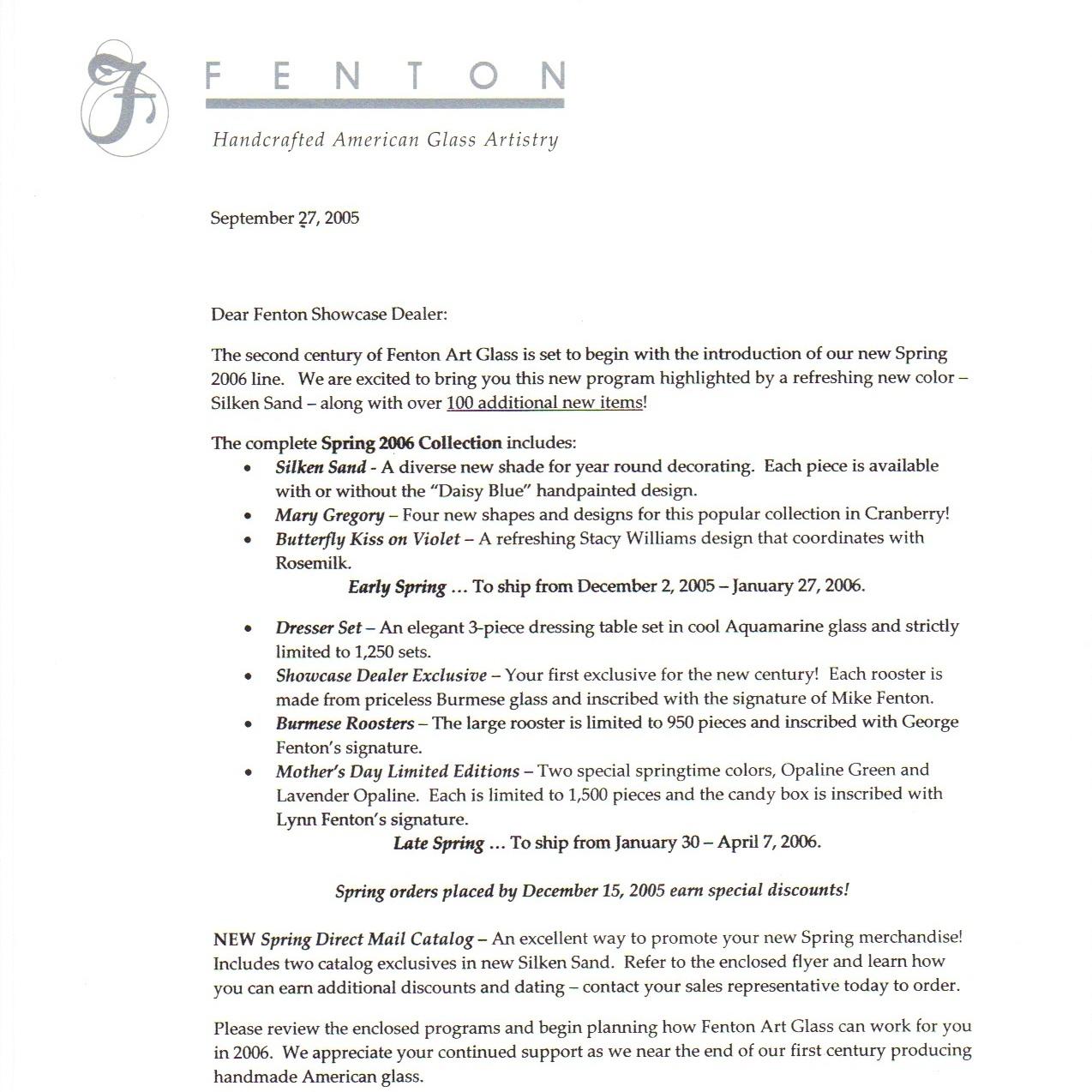 2005 Dealer Spring 2006 letter