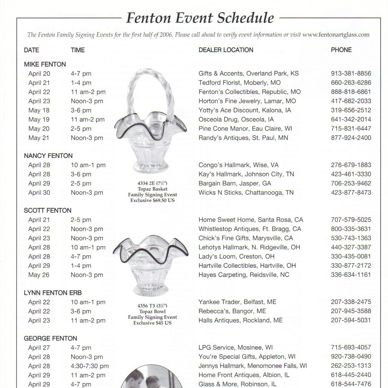 2006 Fenton Event Schedule