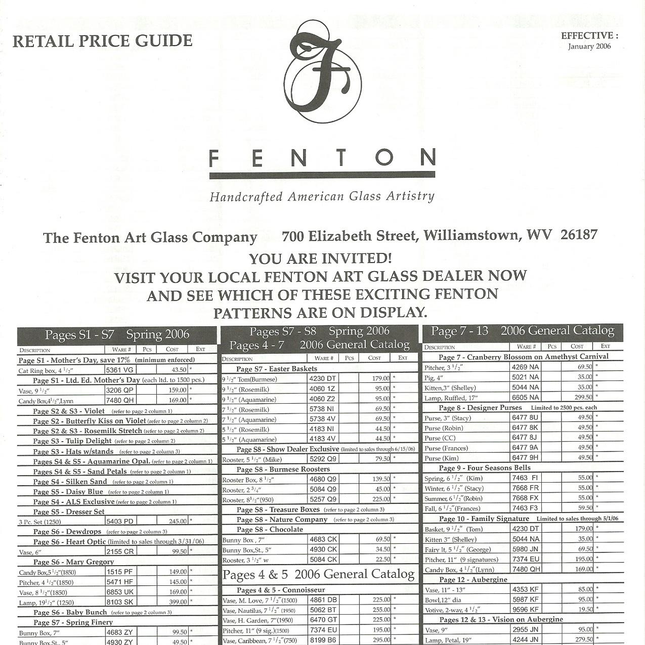2006 Jan Price Guide
