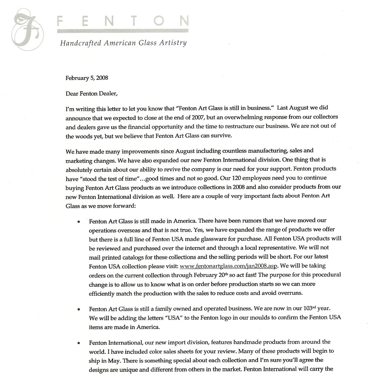 2008 Still In Business Letter