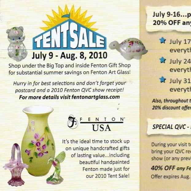 2010 Fenton's Gift Shop Tent Sale