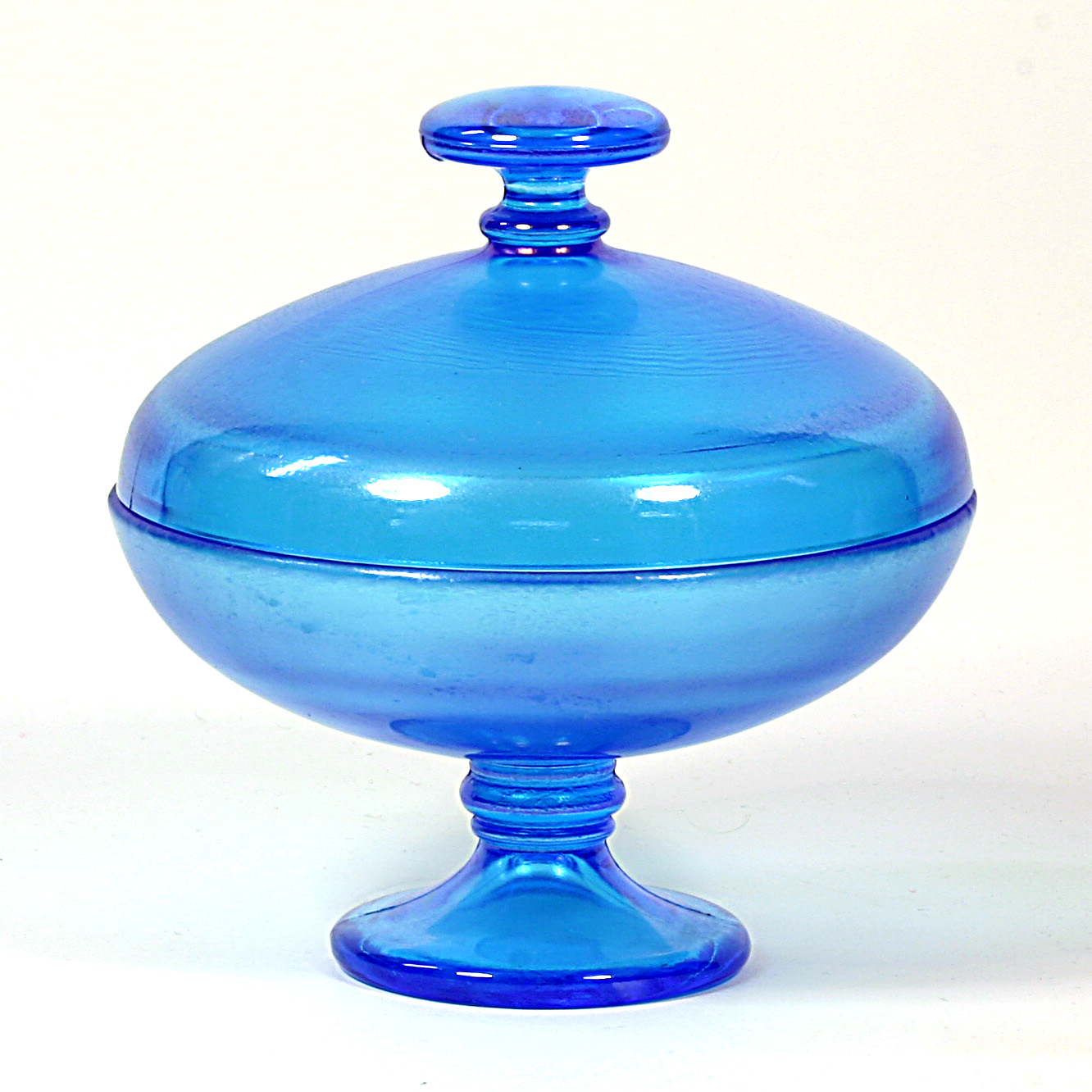 Fenton Early Period Celeste Blue Powder Puff