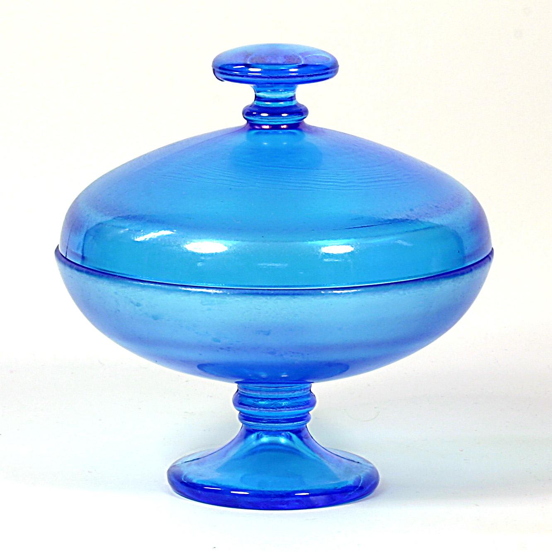 Fenton Early Period Celeste Blue Powder Puff