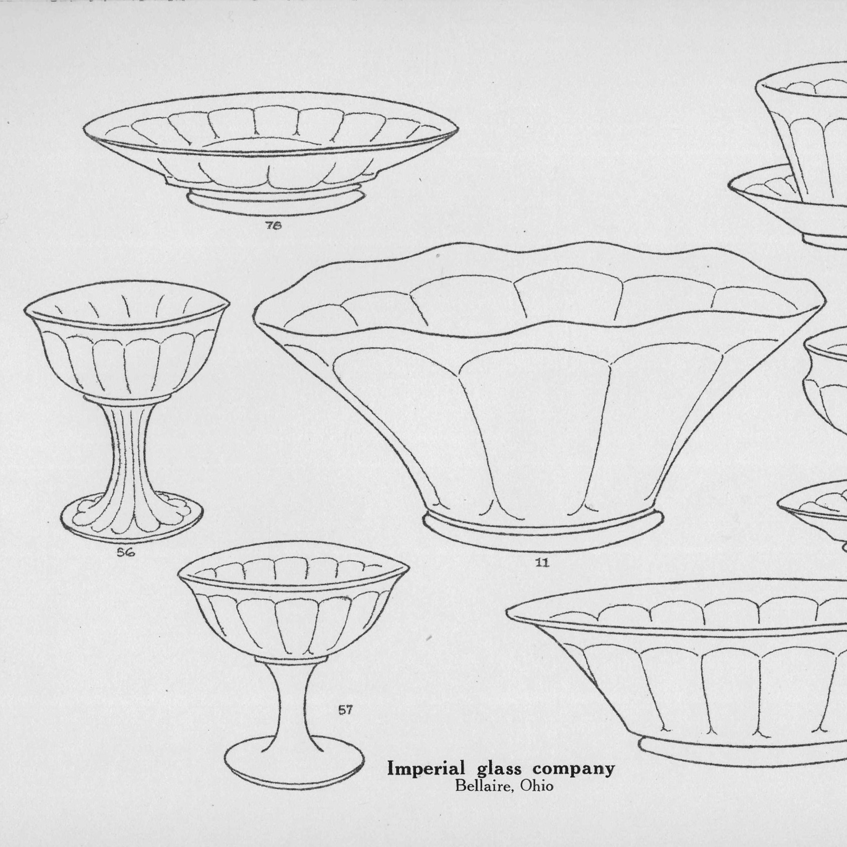 New — Imperial Glass Co. Line Drawings