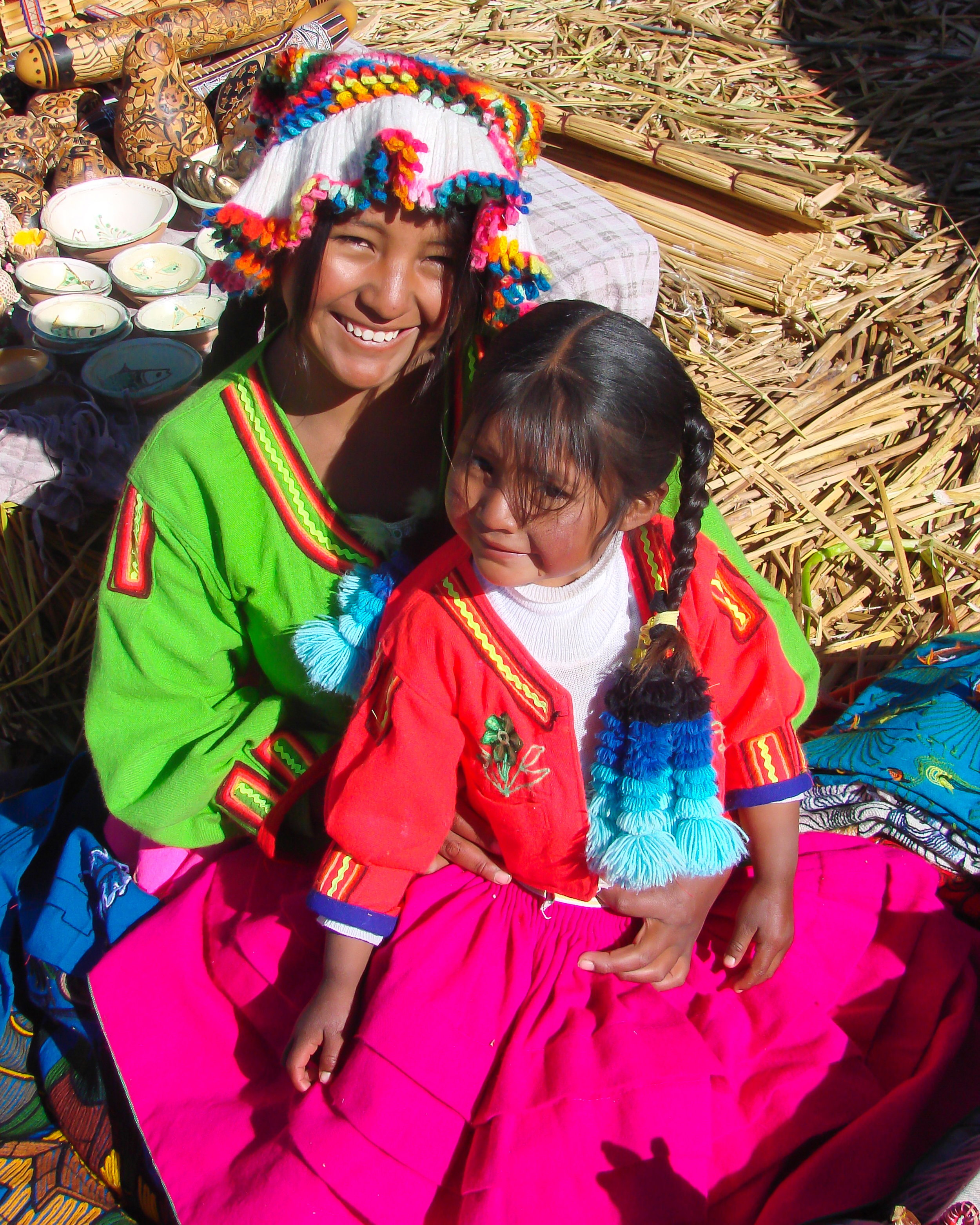 Uros Mother & Daughter - Lake Titicaca