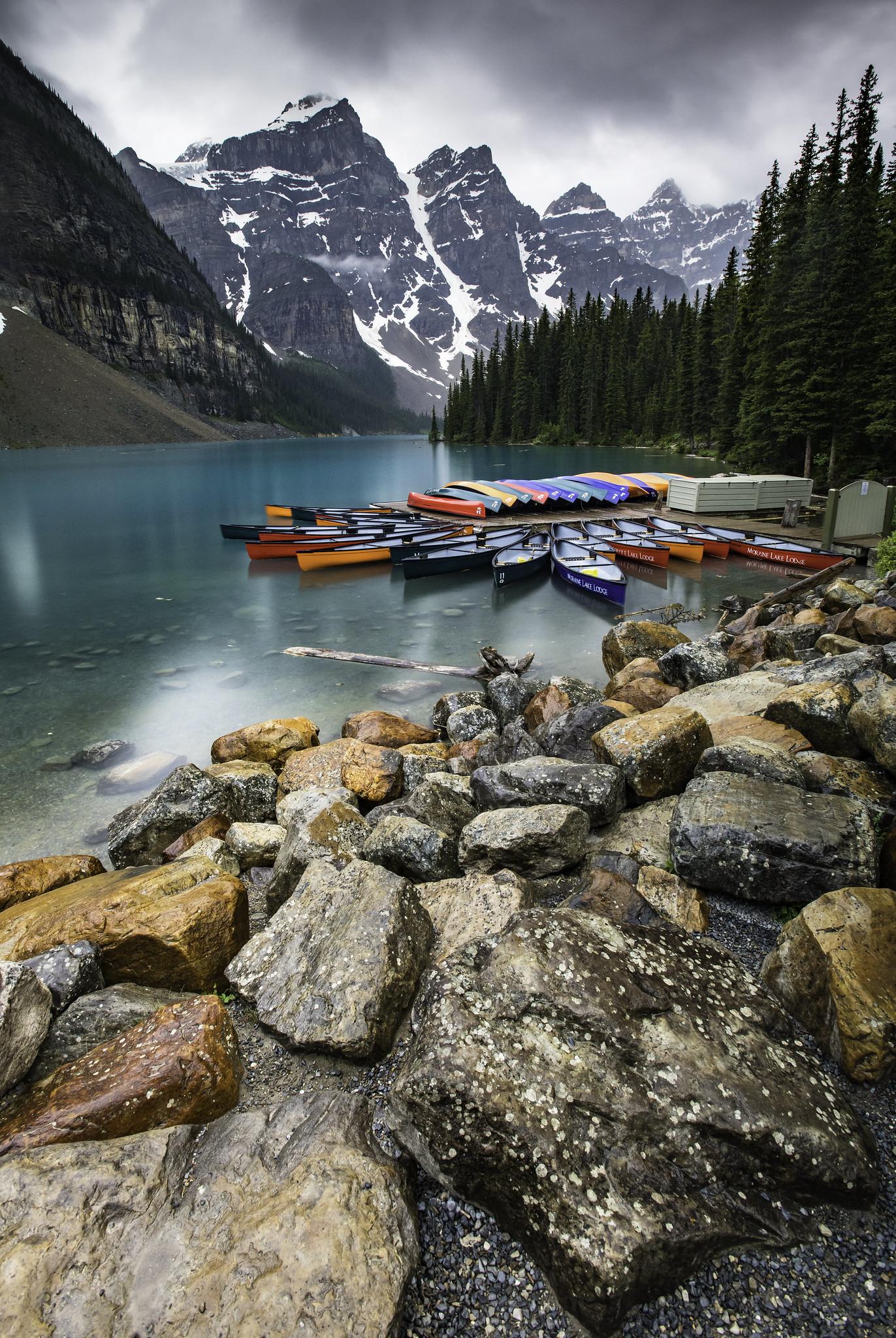 Colorful Kayaks - Lake Moraine (Banff, Canada)