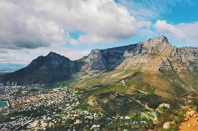 Iconic Table Mountain, towering over Cape Town