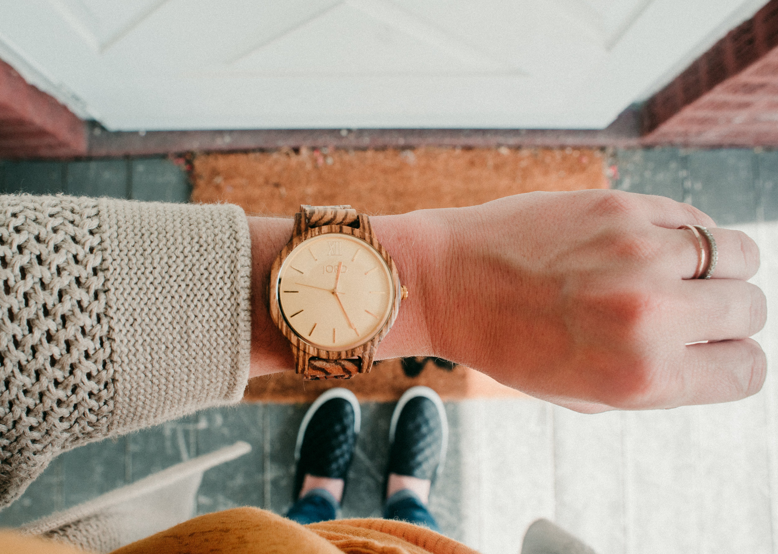 Frankie Wooden Watch in Zebrawood + Champagne
