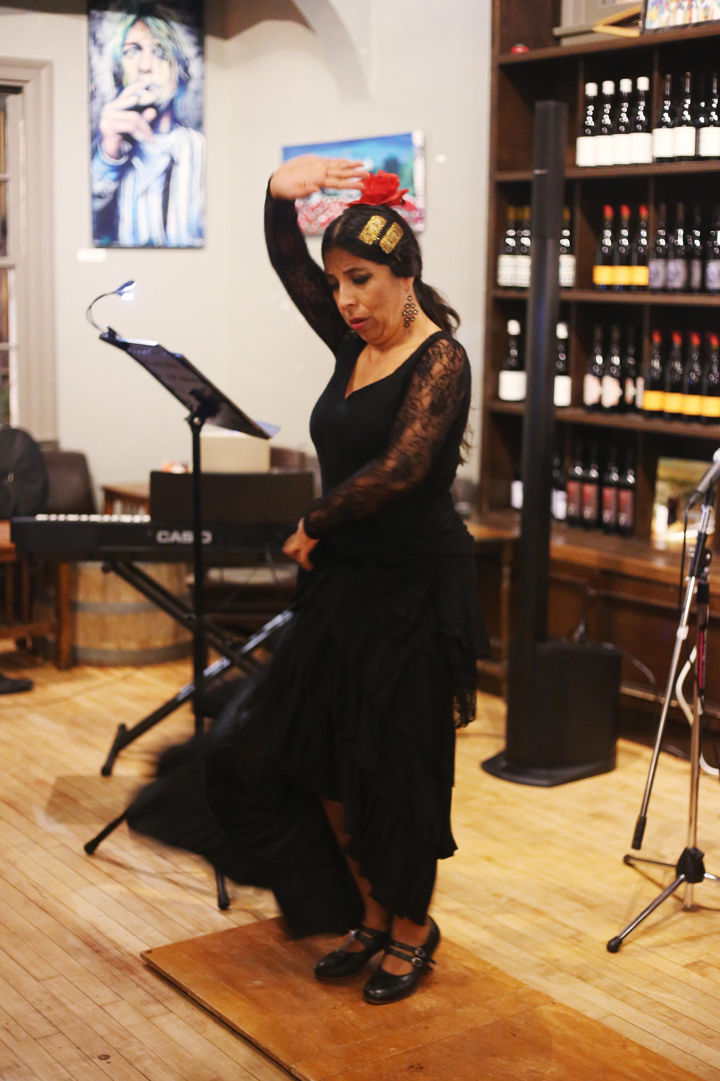 Briseyda Zarate dancing with Five Senses Tastings.JPG