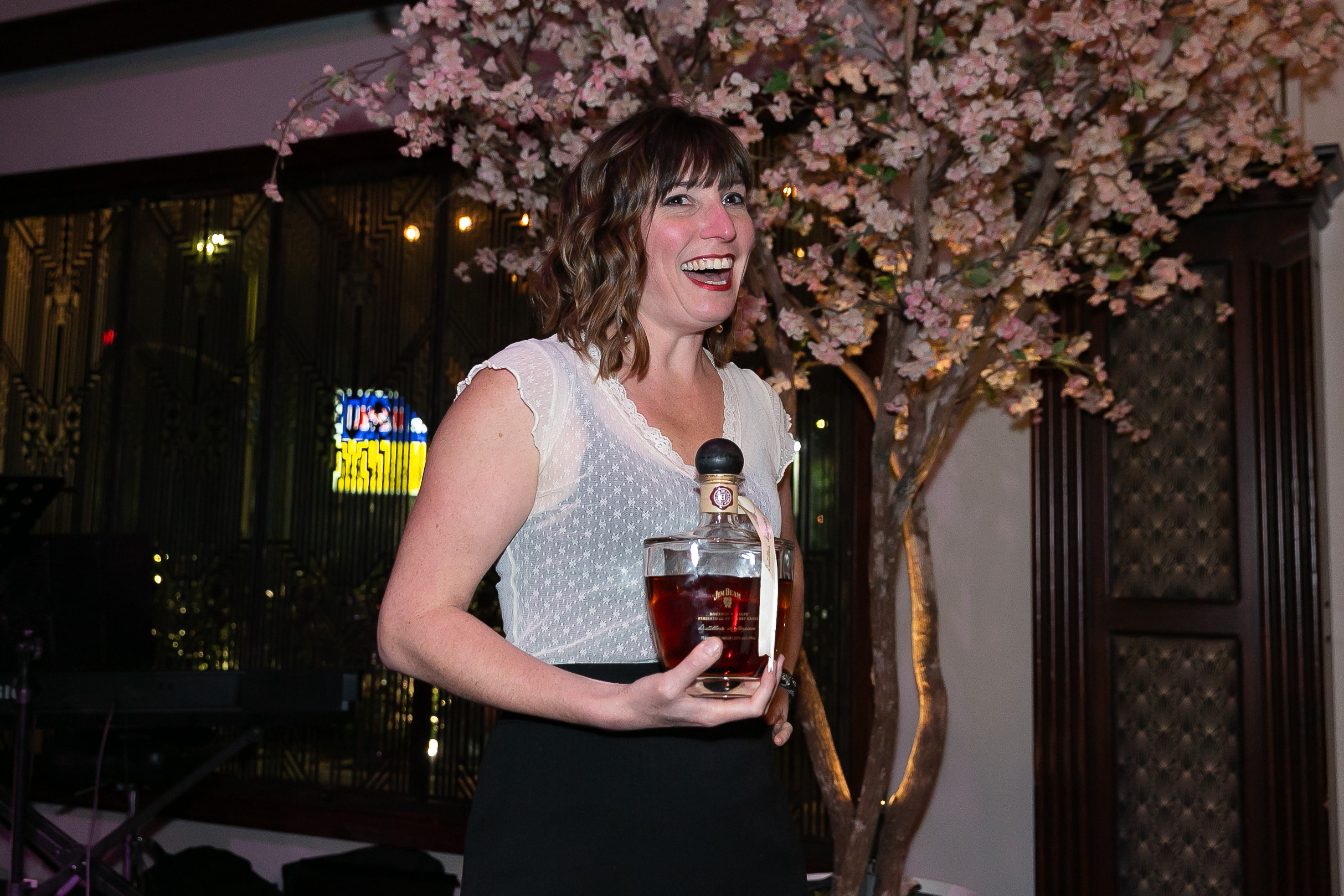 Megan Breier speaks at a Song & Tonic event in Los Angeles at the Edmon