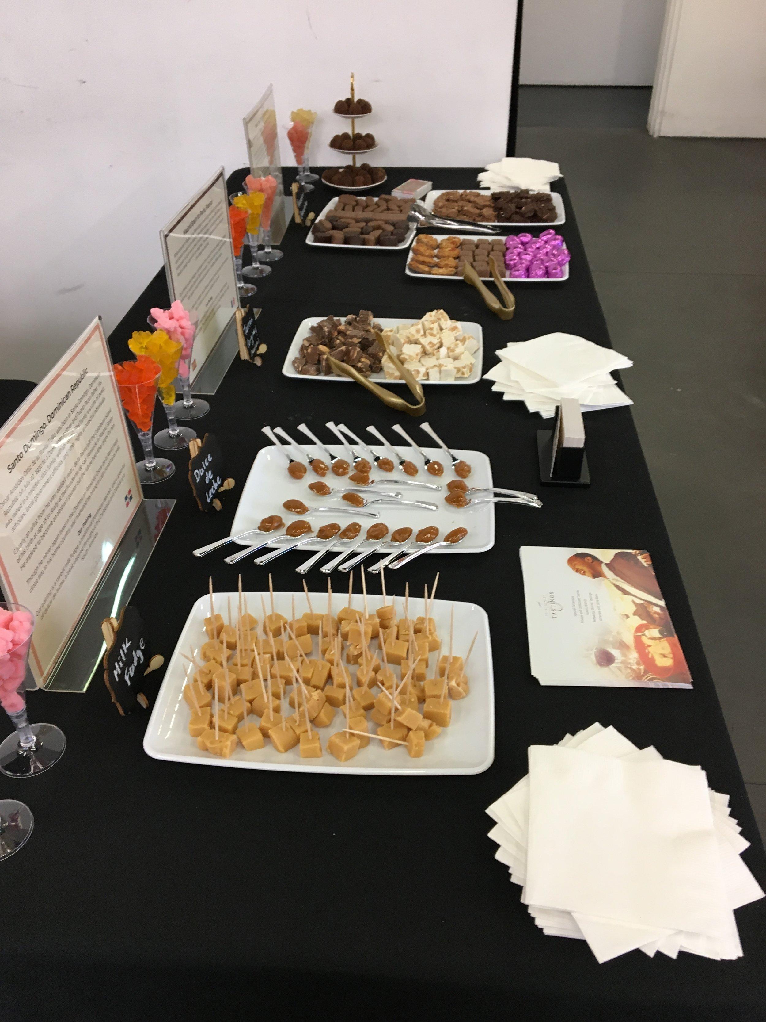 Full tasting table at Oscar de la Renta Sample Sale