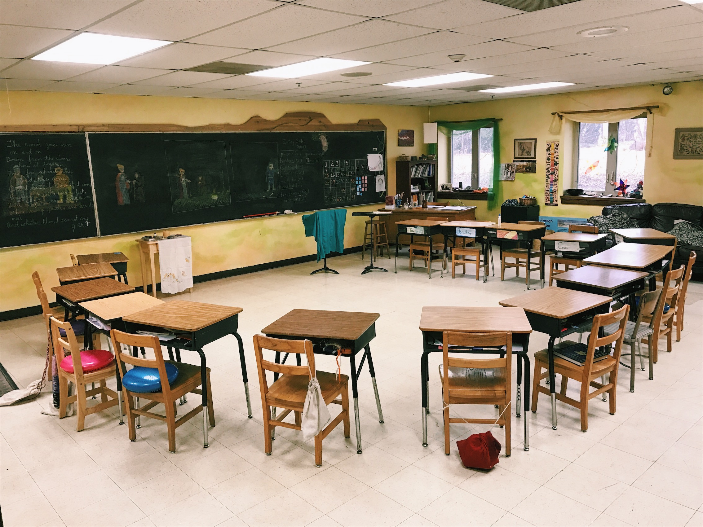 Rather than lining up the desks in rows, the fourth graders at Four Winds Waldorf School enjoy their class set up in a semicircle!
