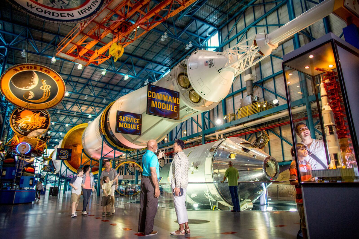 Kennedy Space Center Astronaut Adventure - Kennedy Space Center explore bus tour for 4. Lunch with an astronaut. 2-day visitor Complex admission for 4. 3-night stay in one standard guest room at Hyatt Place Orlando/Universal. Round-trip coach class airfare for 4 from within the 48 contiguous U.S. locations to Orlando, FL. Booking & concierge service.