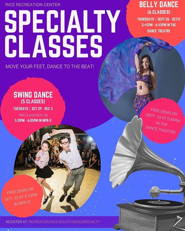 ⭐️Belly Dance Class Series starts this Thursday! ⭐️ The storm canceled the free demo last week so we are giving you the opportunity to take this week's class for free! DM me for any questions!  @ricerecreation @riceuniversity