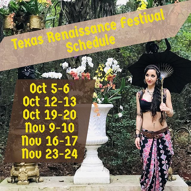 I can't believe it! This year marks my TEN YEAR anniversary performing at @texrenfest!! I'll be at the Puffin, a Hookah Cafe inside the Enchanted Forest alongside my dance sisters @dauntlessdancecompany! Our set times are 11:30am, 2:00pm, and 4:30pm. On Saturdays you can catch a special candle lit set at 6:30 too!