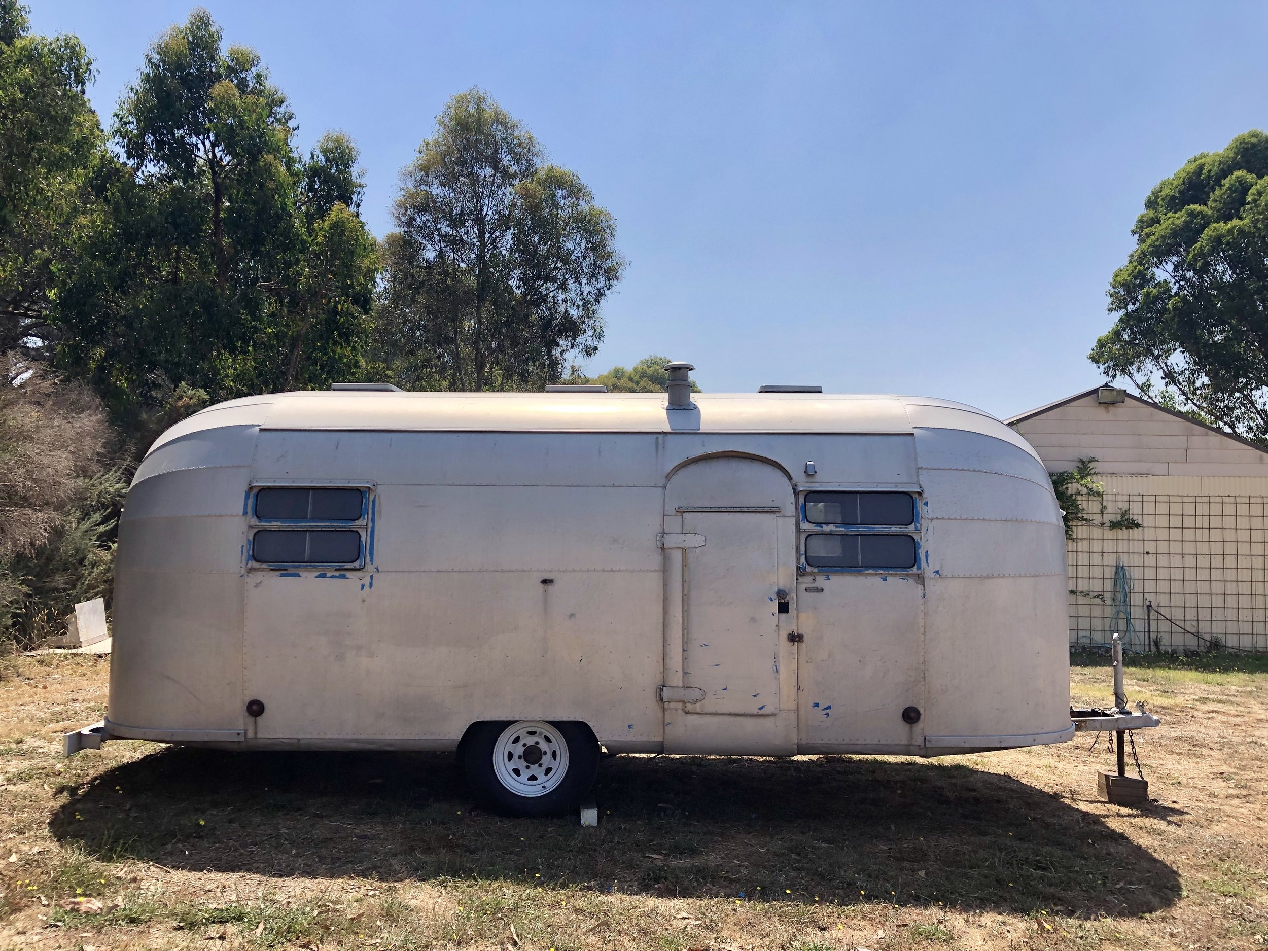 Dot the Airstream, 1952 Flying Cloud, imported in Melbourne Australia from Kansas USA