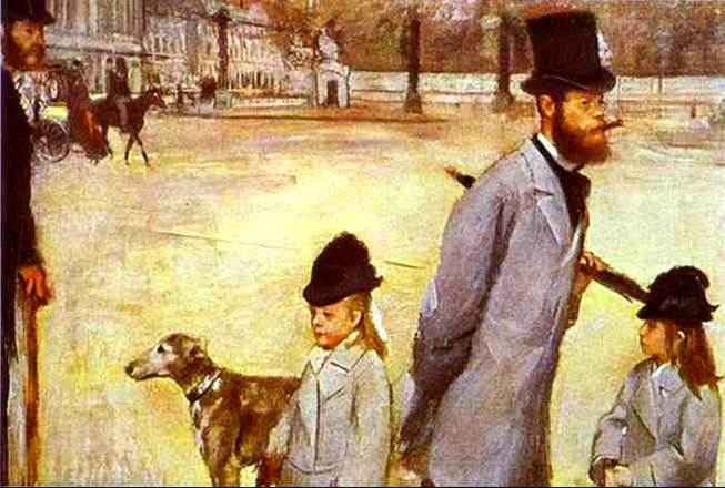 Photographic staging carefully thought out - including the man half in and half out of the picture on the left in  Place de la Concorde  Edgar Degas 1875
