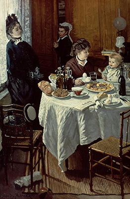 The immediacy of a snapshot using oil paint in  The Breakfast  Claude Monet 1868