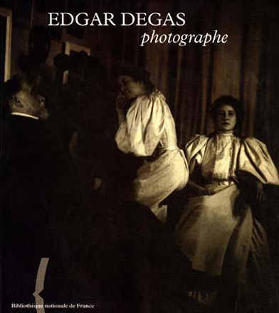 Degas (on the left) with his family posing for a picture - the cover to  Edgar Degas Photographe  published by the Bibliotheque Nationale de France