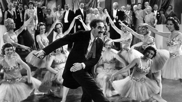 Classical Ballet with traditional poses - but there appears to be something wrong -  Duck Soup  1933 The Marx Brothers