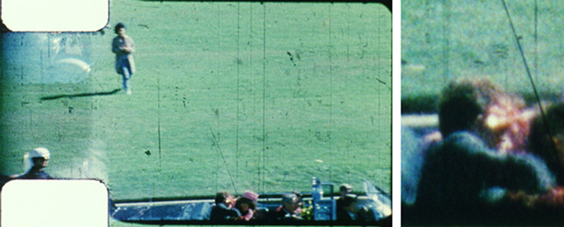 On the left Zapruder Kennedy assassination film frame #317. On the right a magnification of John Kennedy's head from the same frame.