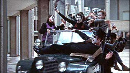 Blow-Up  The mimes at the beginning of the film in the London financial district.