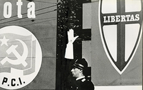 Ronald Traeger,  Rome Series ,  1962  The hard left and the hard right - politically and pictorially - meet a policeman with a dramatic white glove that signals something dramatic but ambiguous.