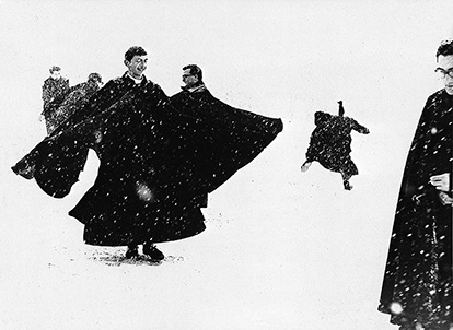 Mario Giacomelli,  Priests 1961-1963  Hard contrasts, idiosyncratic framing, and faces as in Neorealism.
