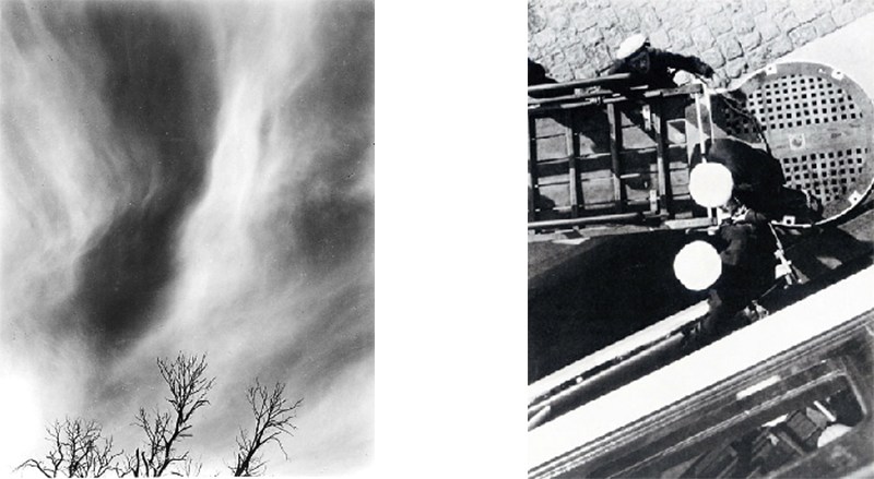 On the left  Equivalent  by Alfred Steiglitz 1930 and on the right  Scandinavia  by Lazlo Moholy-Nagy 1930. Both attempting to make photography into painting but from opposite ends of the accepted aesthetic norms of the time.