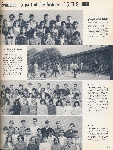 """Gardena High School Yearbook 1968. The dedication (second paragraph) reads: """"Rev. Dr. Martin Luther King Jr. April 4, 1968...Moetown and the world mourned the death of a man with a dream. MLK symbolized the hopes and dreams of many students at Gardena. Working with the """"Now"""" generation, Dr King's spirit is in the heart and soul of many Mohicans."""""""