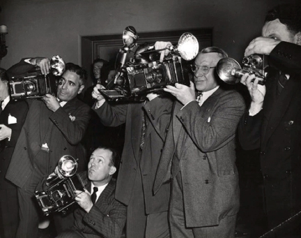 Anonymous  Photographer, Press Area, P hotographers using the Speed-Graphic camera, 1943