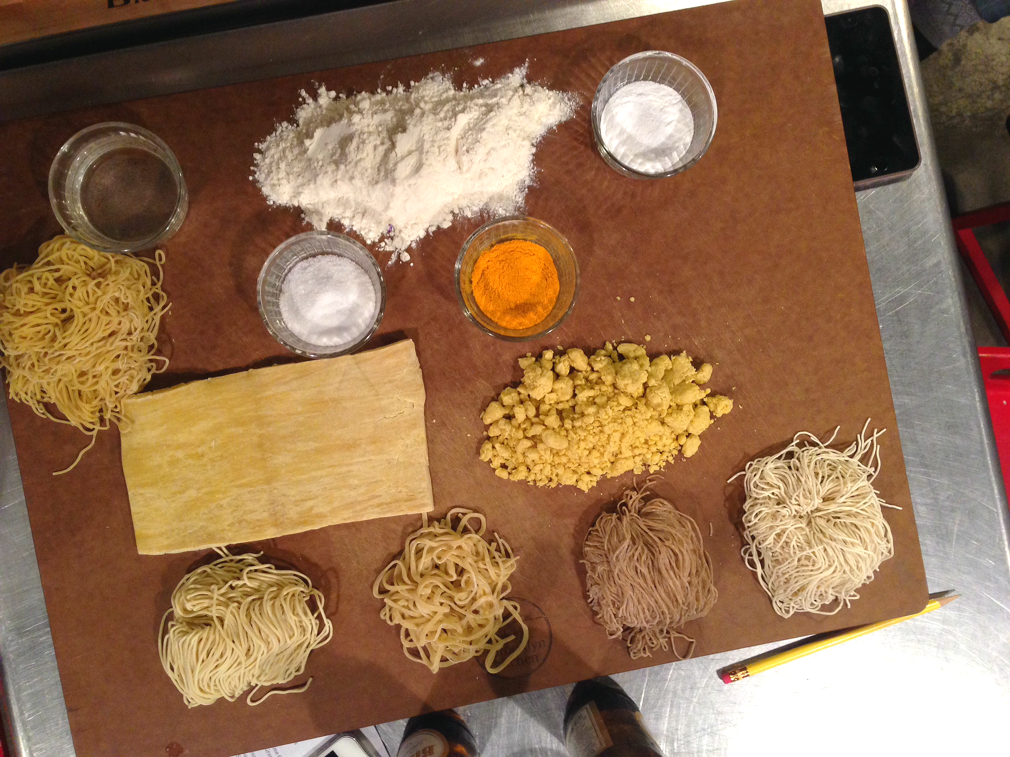 The set up at The Brooklyn Kitchen's ramen class