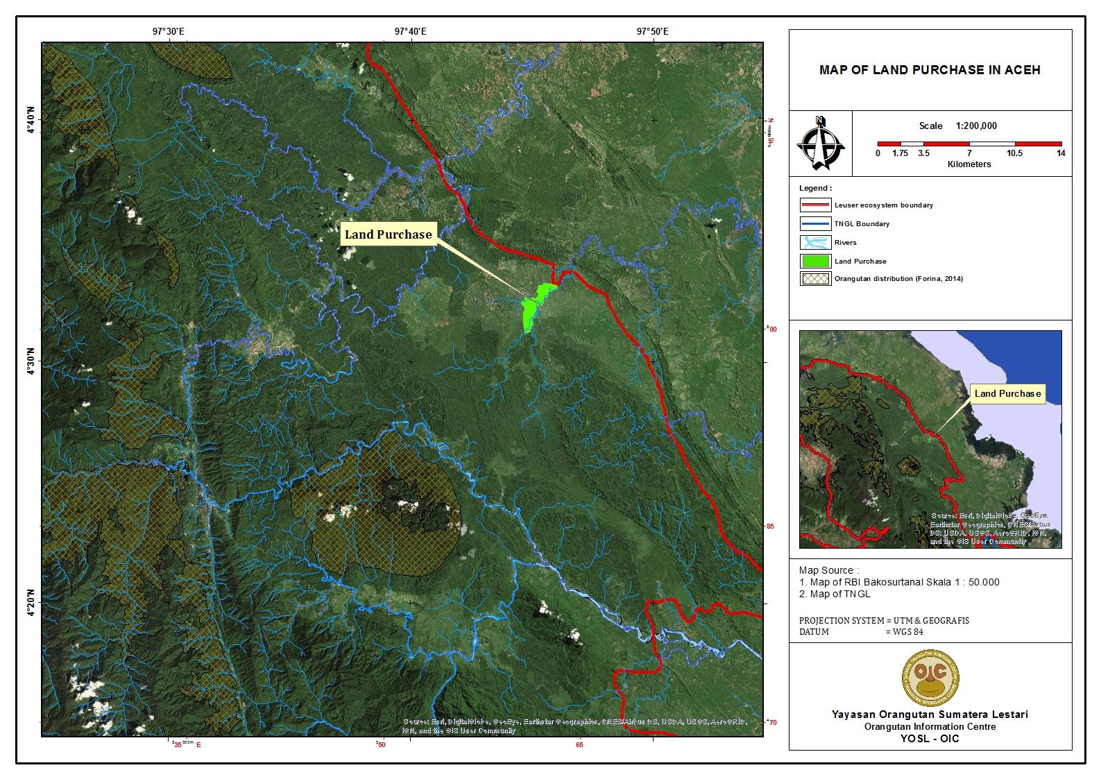 Map of Land purchase in Indonesia, with orangutan habitat.
