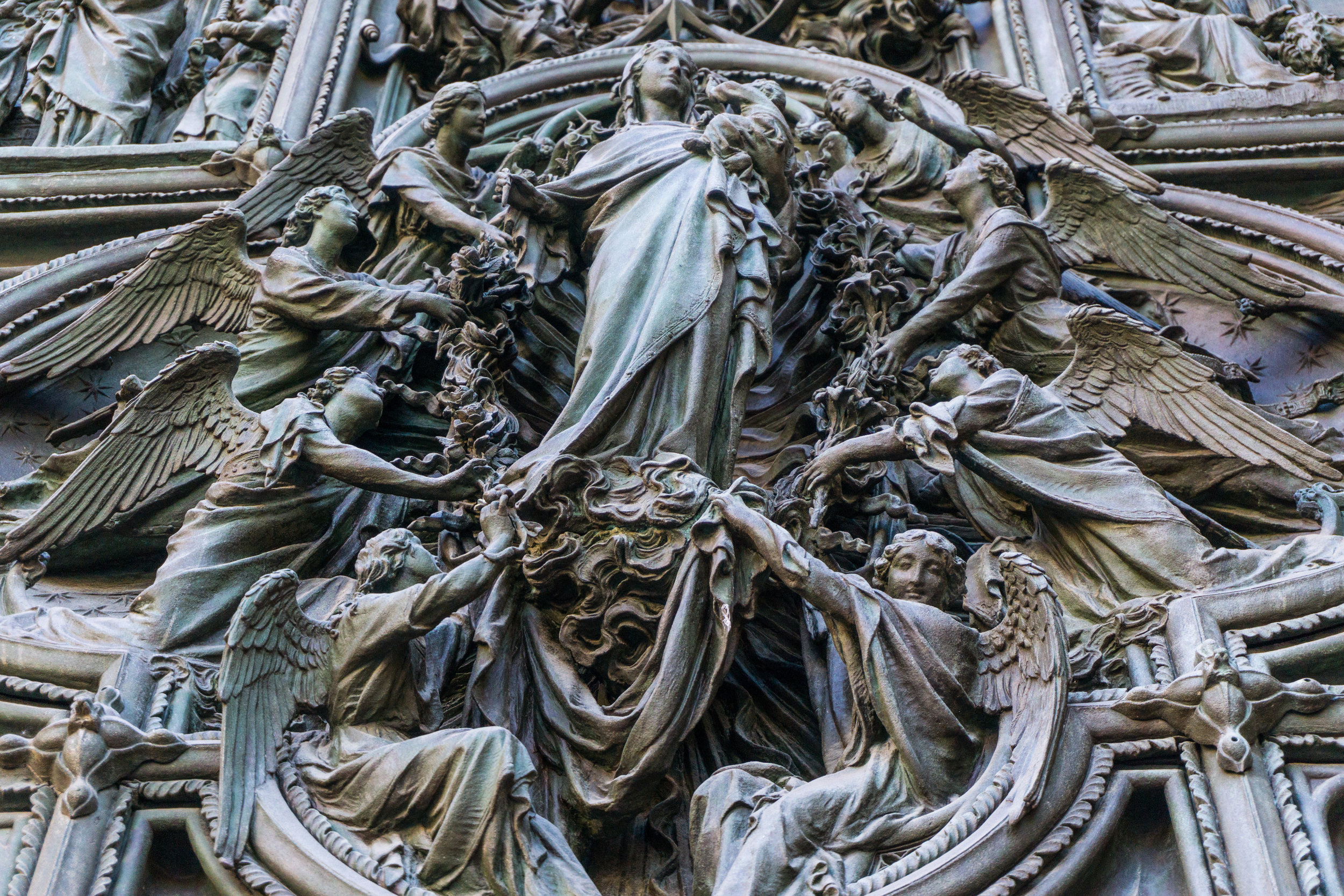 """Bronze porto carved in 1906. """"LIfe of Mary"""""""
